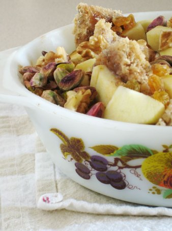 Apple nut bread pudding